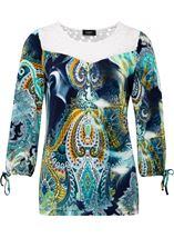 Paisley Printed Three Quarter Sleeve Top Navy/Aqua - Gallery Image 1