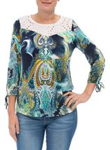 Paisley Printed Three Quarter Sleeve Top Navy/Aqua - Gallery Image 2