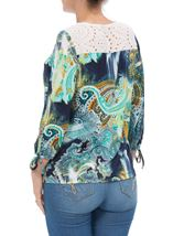 Paisley Printed Three Quarter Sleeve Top Navy/Aqua - Gallery Image 3