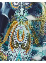 Paisley Printed Three Quarter Sleeve Top Navy/Aqua - Gallery Image 4