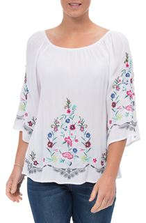 Embroidered Bardot Crinkle Top - White/Multi