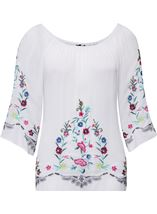 Embroidered Bardot Crinkle Top White/Multi - Gallery Image 1