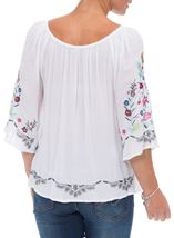Embroidered Bardot Crinkle Top White/Multi - Gallery Image 3