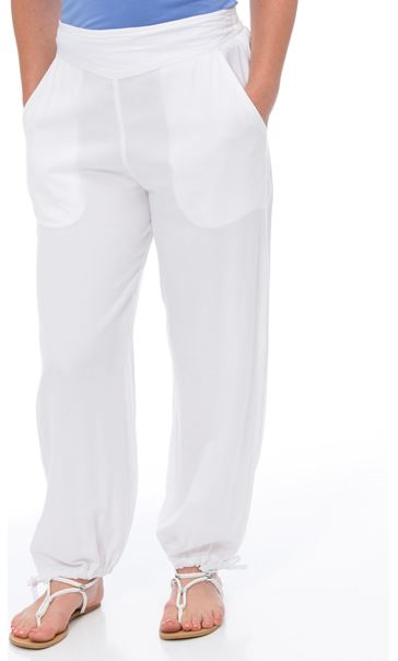 Striped Tie Cuff Pull On Trousers White - Gallery Image 2