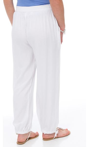 Striped Tie Cuff Pull On Trousers White - Gallery Image 3