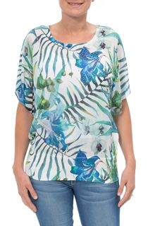Exotic Floral Print And Embellished Short Sleeve Top