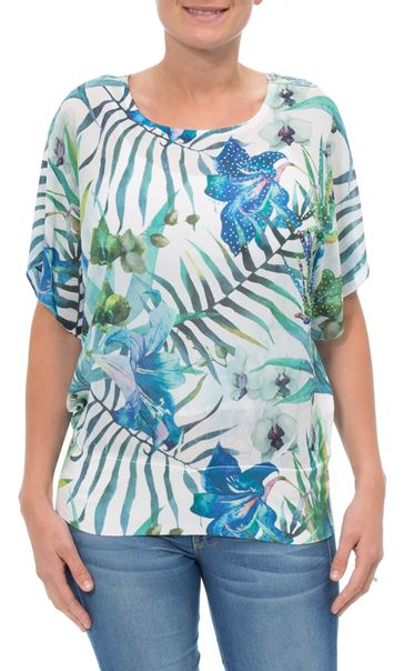 Exotic Floral Print And Embellished Short Sleeve Top Aqua/Lime