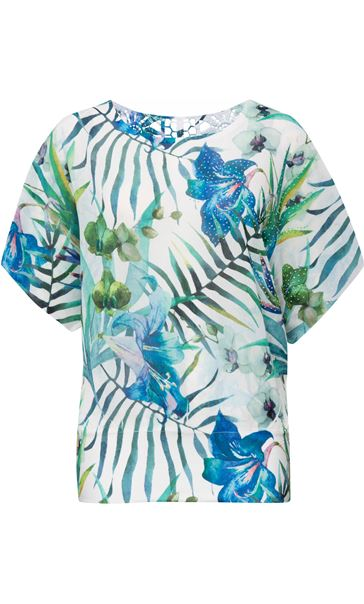 Exotic Floral Print And Embellished Short Sleeve Top Aqua/Lime - Gallery Image 2