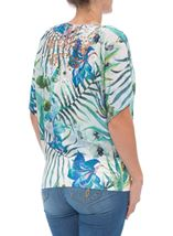 Exotic Floral Print And Embellished Short Sleeve Top Aqua/Lime - Gallery Image 3