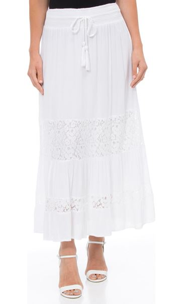 Lace Panelled Crinkle Maxi Skirt White