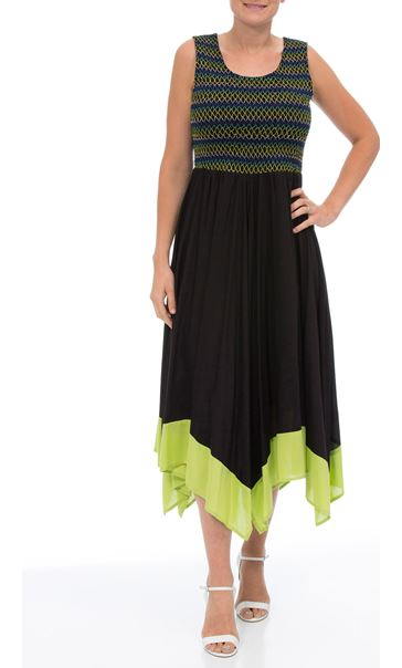 Sleeveless Smocked Maxi Dress Black/Lime