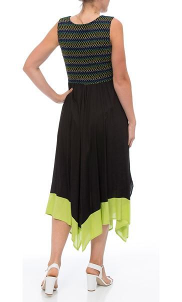 Sleeveless Smocked Maxi Dress Black/Lime - Gallery Image 2