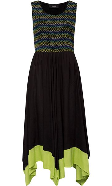 Sleeveless Smocked Maxi Dress Black/Lime - Gallery Image 3