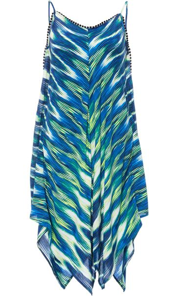 Printed Long Sleeveless Tunic Blue/Lime