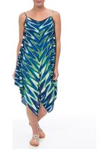 Printed Long Sleeveless Tunic Blue/Lime - Gallery Image 2