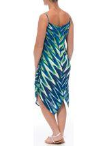 Printed Long Sleeveless Tunic Blue/Lime - Gallery Image 3
