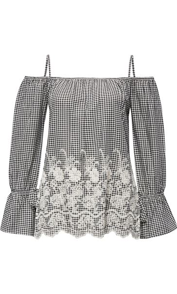 Cold Shoulder Gingham Embroidered Top Black/White