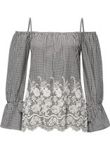 Cold Shoulder Gingham Embroidered Top Black/White - Gallery Image 1