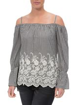 Cold Shoulder Gingham Embroidered Top Black/White - Gallery Image 2