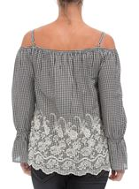 Cold Shoulder Gingham Embroidered Top Black/White - Gallery Image 3
