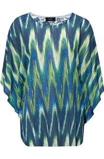 Printed Georgette And Lace Trim Top