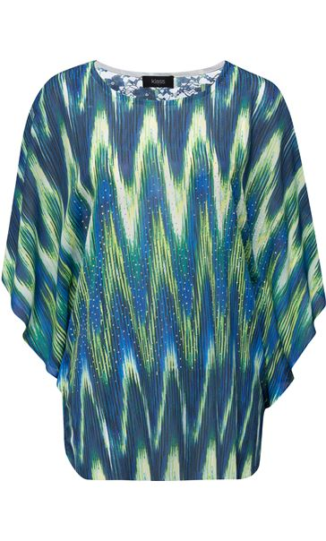 Printed Georgette And Lace Trim Top Blue/Lime - Gallery Image 2