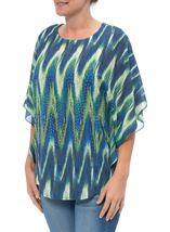 Printed Georgette And Lace Trim Top Blue/Lime - Gallery Image 1