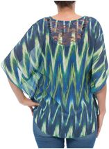 Printed Georgette And Lace Trim Top Blue/Lime - Gallery Image 3
