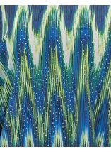 Printed Georgette And Lace Trim Top Blue/Lime - Gallery Image 4