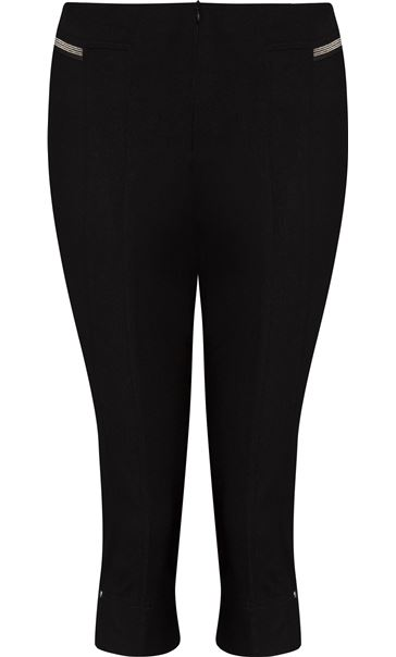 Cropped Stretch Slim Trousers Black - Gallery Image 1
