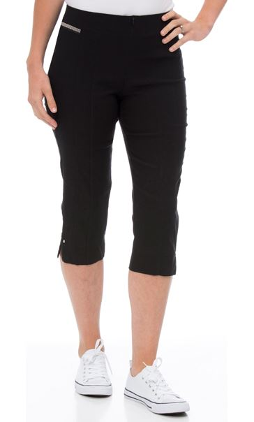 Cropped Stretch Slim Trousers Black - Gallery Image 2