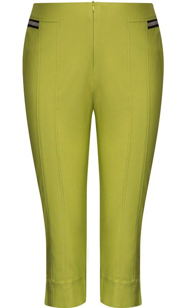 Cropped Stretch Slim Trousers Lime