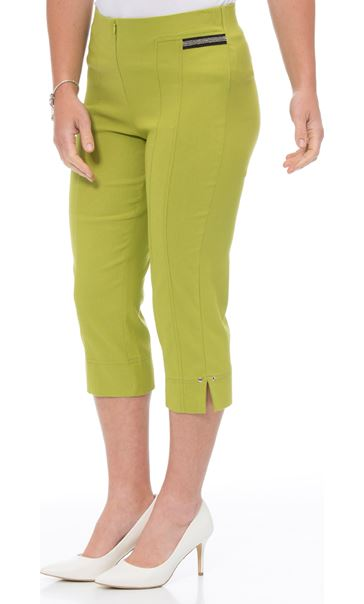 Cropped Stretch Slim Trousers Lime - Gallery Image 2