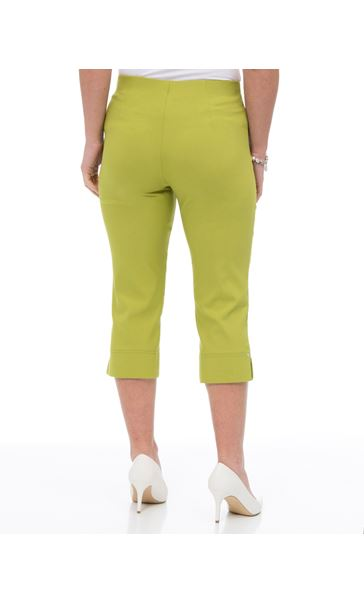 Cropped Stretch Slim Trousers Lime - Gallery Image 3