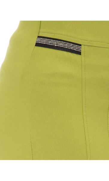 Cropped Stretch Slim Trousers Lime - Gallery Image 4