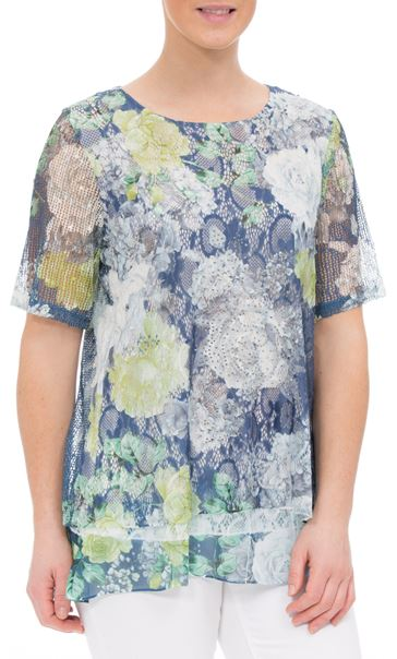 Anna Rose Layered Lace Short Sleeve Printed Top Navy/Green