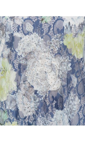 Anna Rose Layered Lace Short Sleeve Printed Top Navy/Green - Gallery Image 3