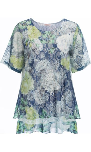 Anna Rose Layered Lace Short Sleeve Printed Top Navy/Green - Gallery Image 4