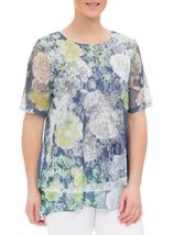 Anna Rose Layered Lace Short Sleeve Printed Top Navy/Green - Gallery Image 1