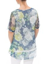 Anna Rose Layered Lace Short Sleeve Printed Top Navy/Green - Gallery Image 2