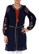 Long Sleeve Embroidered Tunic Midnight - Gallery Image 1