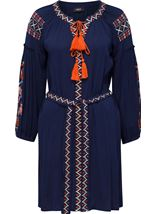 Long Sleeve Embroidered Tunic Midnight - Gallery Image 3