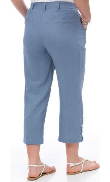 Anna Rose Cropped Linen Blend Trousers - Powder Blue