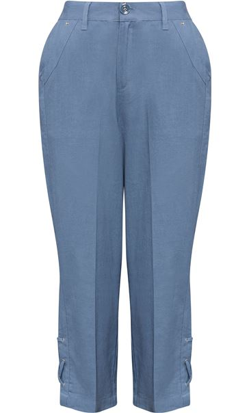 Anna Rose Cropped Linen Blend Trousers Powder Blue - Gallery Image 3