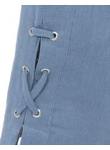 Anna Rose Cropped Linen Blend Trousers Powder Blue - Gallery Image 4