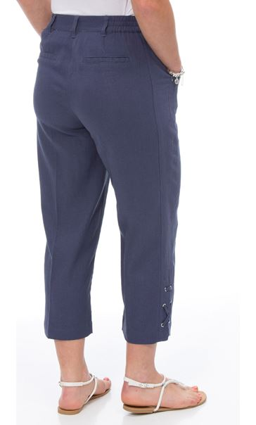 Anna Rose Cropped Linen Blend Trousers Navy - Gallery Image 2