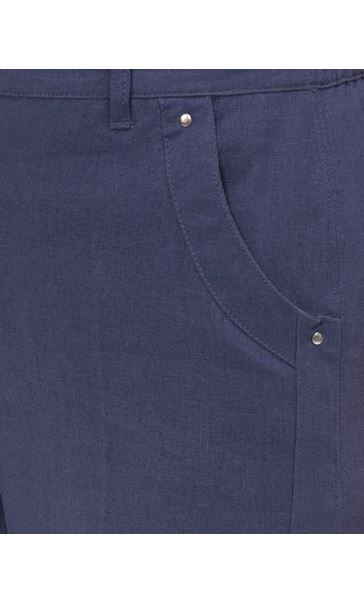 Anna Rose Cropped Linen Blend Trousers Navy - Gallery Image 4