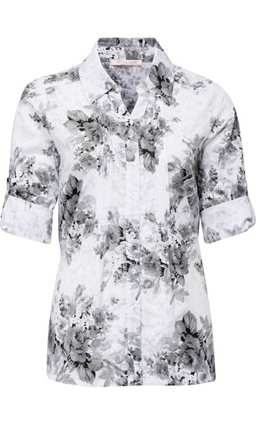 Anna Rose Turn Sleeve Floral Cotton Blend Blouse White/Grey