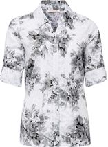 Anna Rose Turn Sleeve Floral Cotton Blend Blouse White/Grey - Gallery Image 1