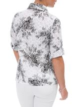 Anna Rose Turn Sleeve Floral Cotton Blend Blouse White/Grey - Gallery Image 3